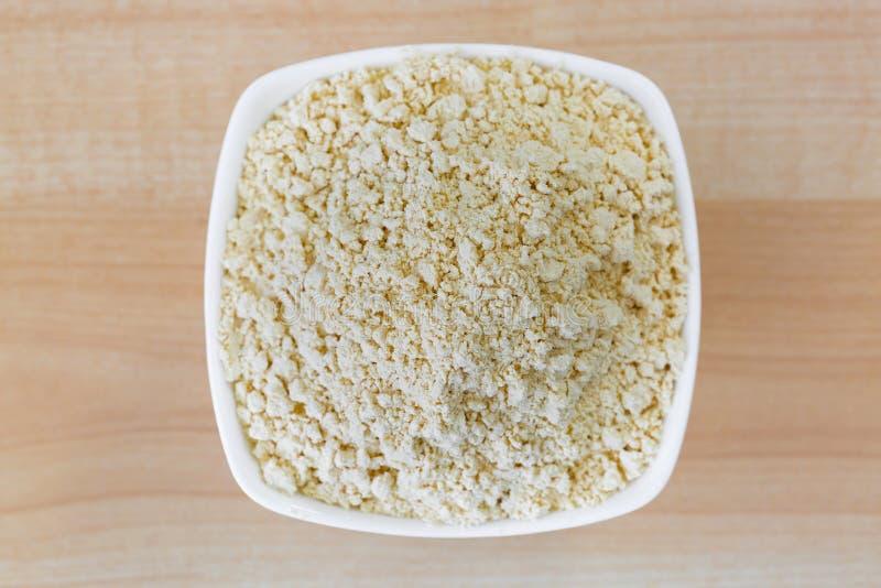 Polvere secca della soia, polvere a terra arrostita della farina di fave della soia fotografia stock libera da diritti