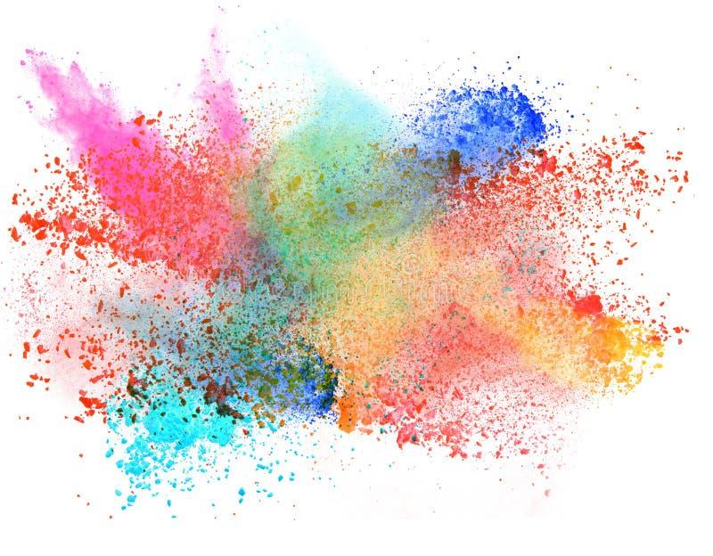 Polvo colorido lanzado sobre blanco imágenes de archivo libres de regalías