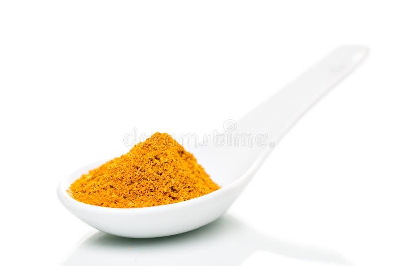 Polvo de curry en cuchara de la porcelana fotografía de archivo libre de regalías