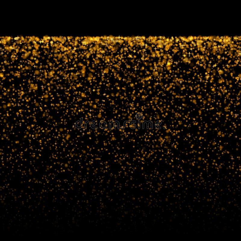 Polvo de estrellas del bokeh del oro que brilla imágenes de archivo libres de regalías