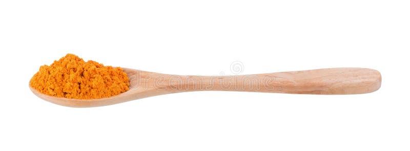 Polvo de la cúrcuma en una cuchara de madera aislada en el fondo blanco fotos de archivo