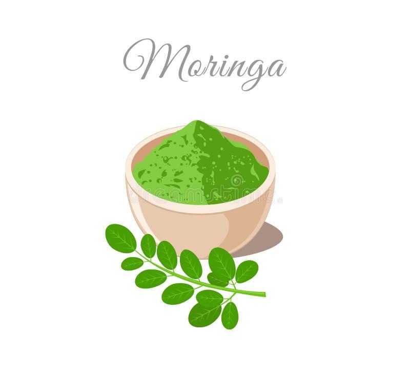 Polvo de Moringa en cuenco planta y hojas libre illustration