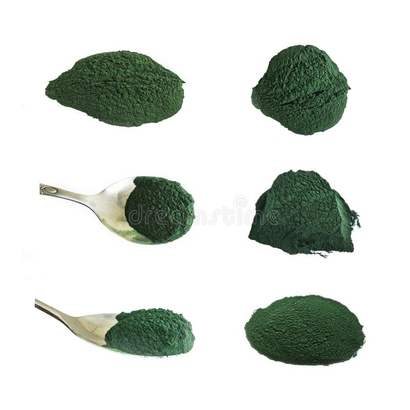 Polvo de Spirulina, colección de suplementos de la comida, aislada en blanco imagen de archivo libre de regalías
