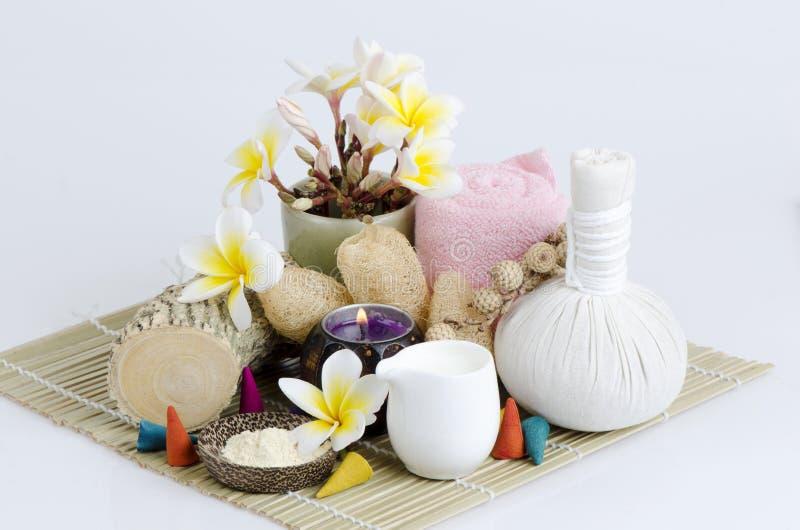 Polvo de Thanakha y leche fresca para la piel que siente suave y lisa imagen de archivo libre de regalías