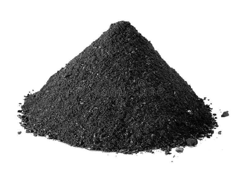 Polvo del carbón aislado en blanco imagen de archivo