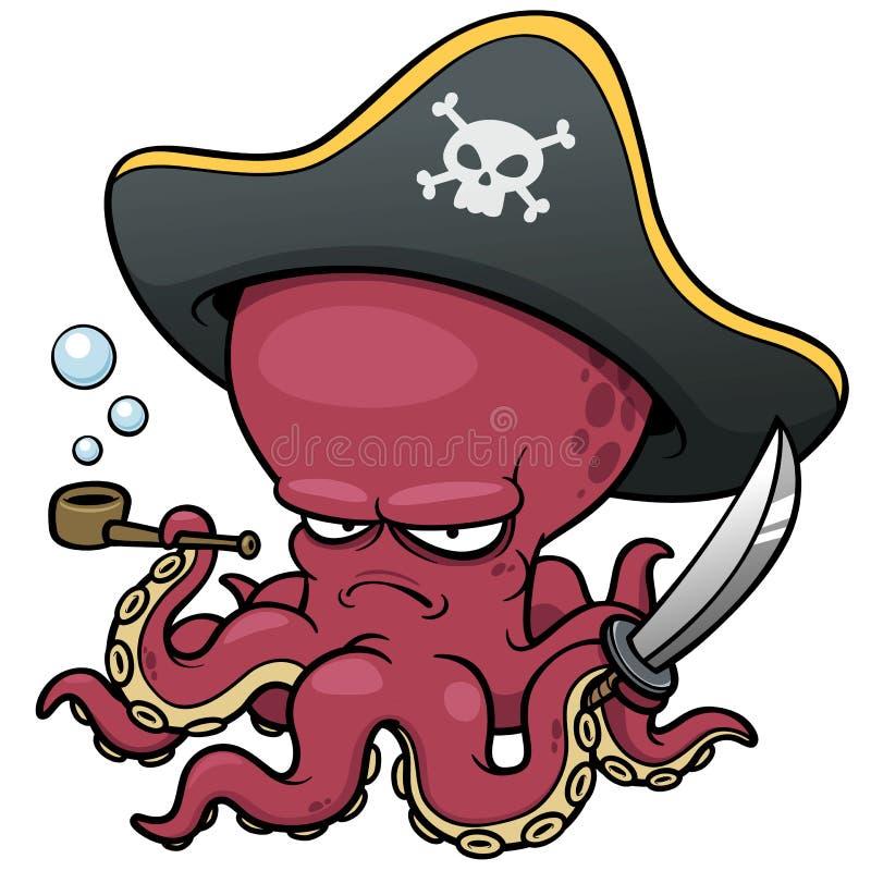 Polvo do pirata dos desenhos animados ilustração do vetor