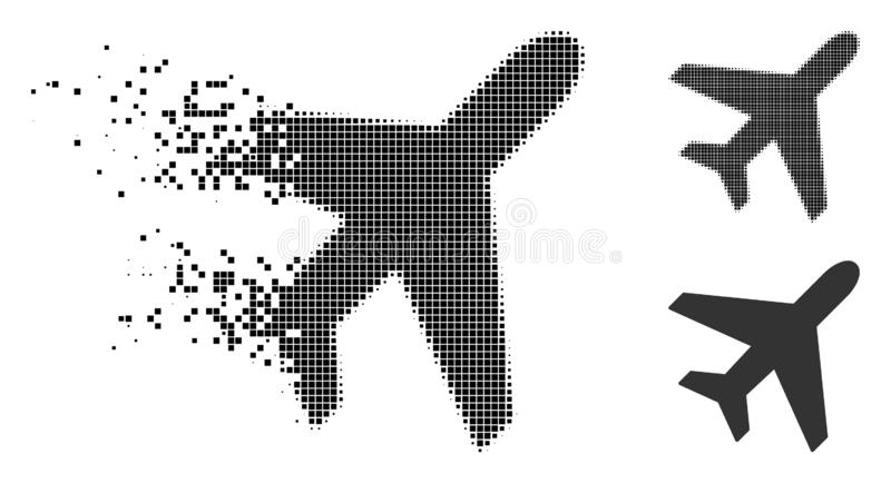 Polvo Dot Halftone Plane Icon stock de ilustración