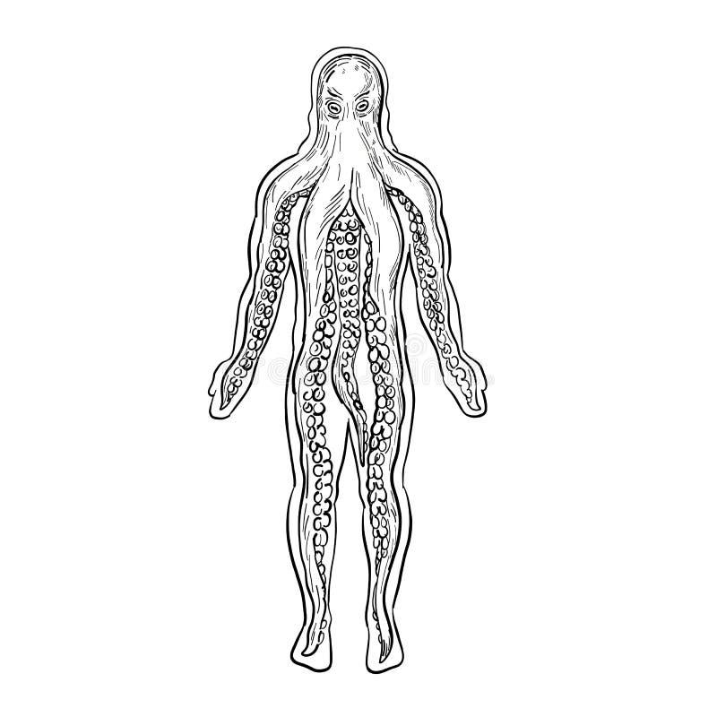 Polvo Estrangeiro Dentro Do Desenho Do Corpo Humano Preto E Branco Ilustracao Do Vetor Ilustracao De Branco Corpo 141043971
