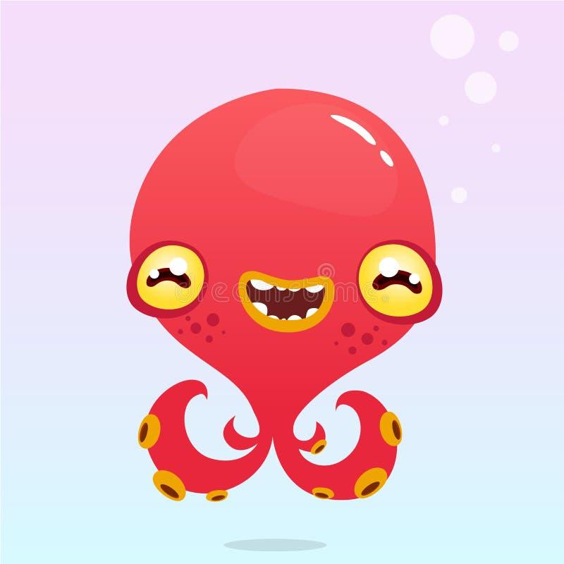 Polvo feliz dos desenhos animados Monstro vermelho de Dia das Bruxas do vetor com tentáculos ilustração royalty free