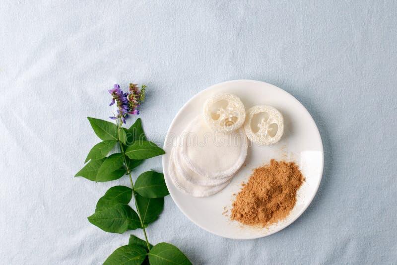 Polvo natural de la mostaza de los productos de limpieza con la esponja natural de la lufa y del algodón Eco c?modo Concepto in?t imagenes de archivo