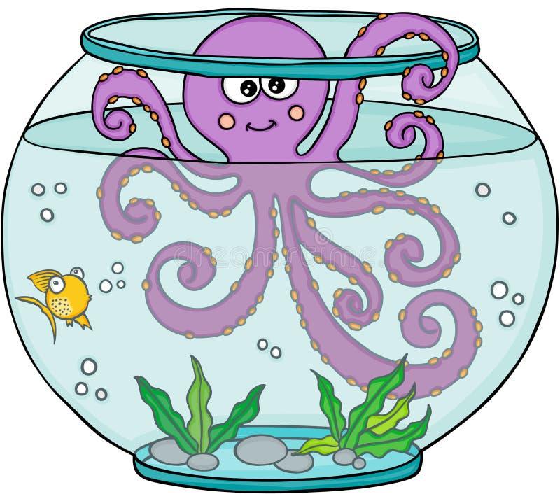 Polvo no aquário do globo ilustração stock