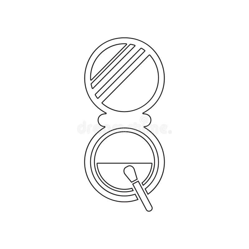 Polvo para el icono del maquillaje Elemento del sal?n de belleza para el concepto y el icono m?viles de los apps de la web Esquem stock de ilustración