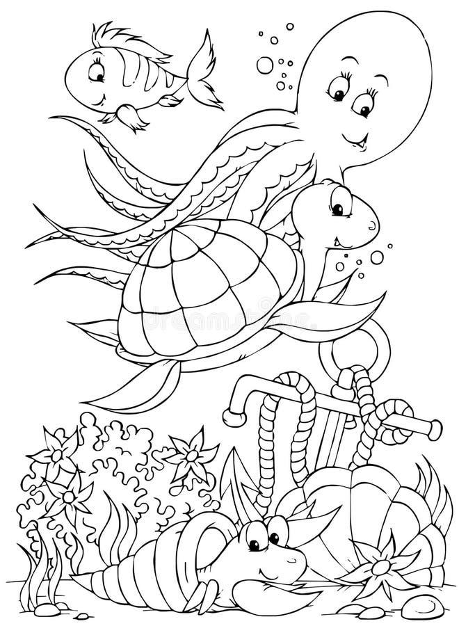 Polvo, tartaruga, peixe, caranguejo de eremita ilustração royalty free