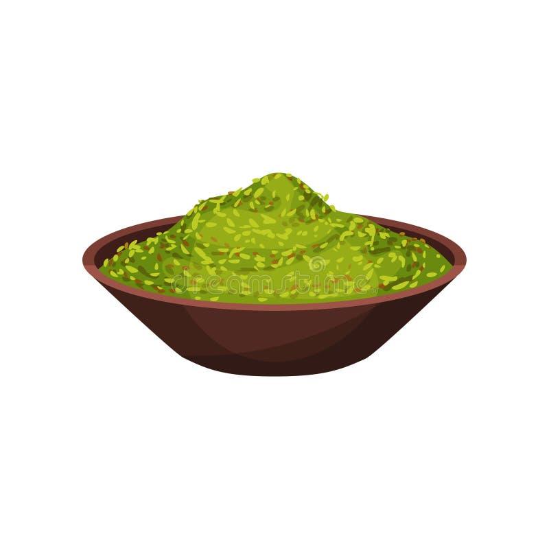 Polvo verde de la mejorana en cuenco de cerámica Especia natural para los platos cocinar el ingrediente Icono plano del vector stock de ilustración