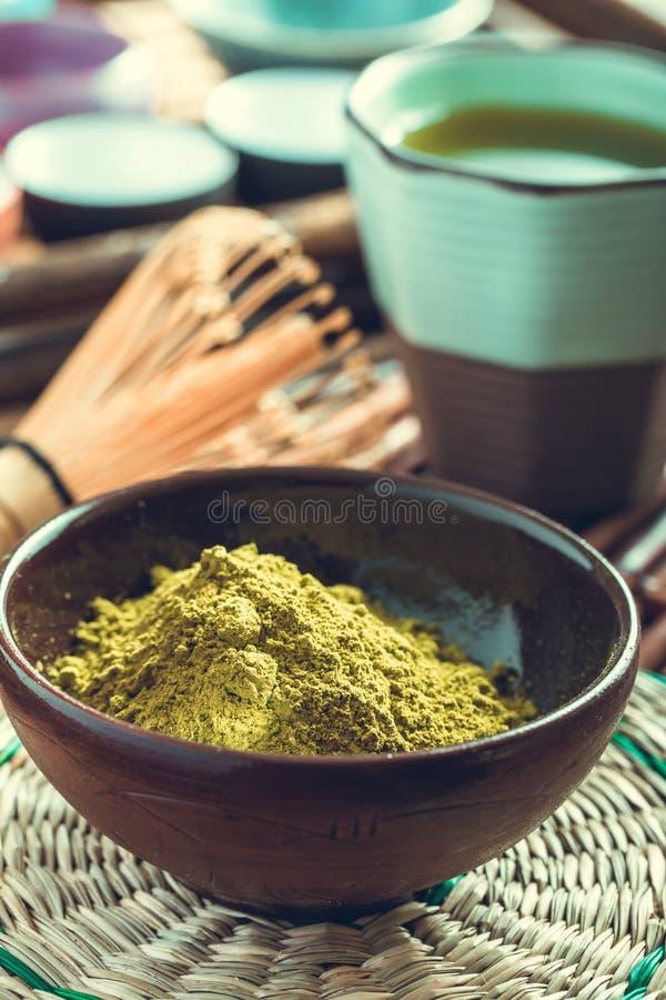 Polvo verde del té del matcha fotos de archivo