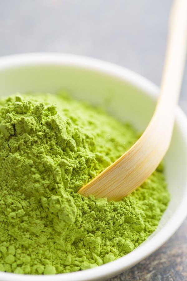 Polvo verde del té del matcha imagen de archivo libre de regalías