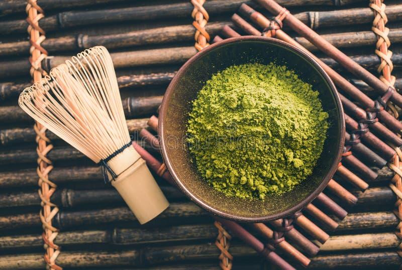 Polvo verde japonés del té del matcha fotos de archivo libres de regalías