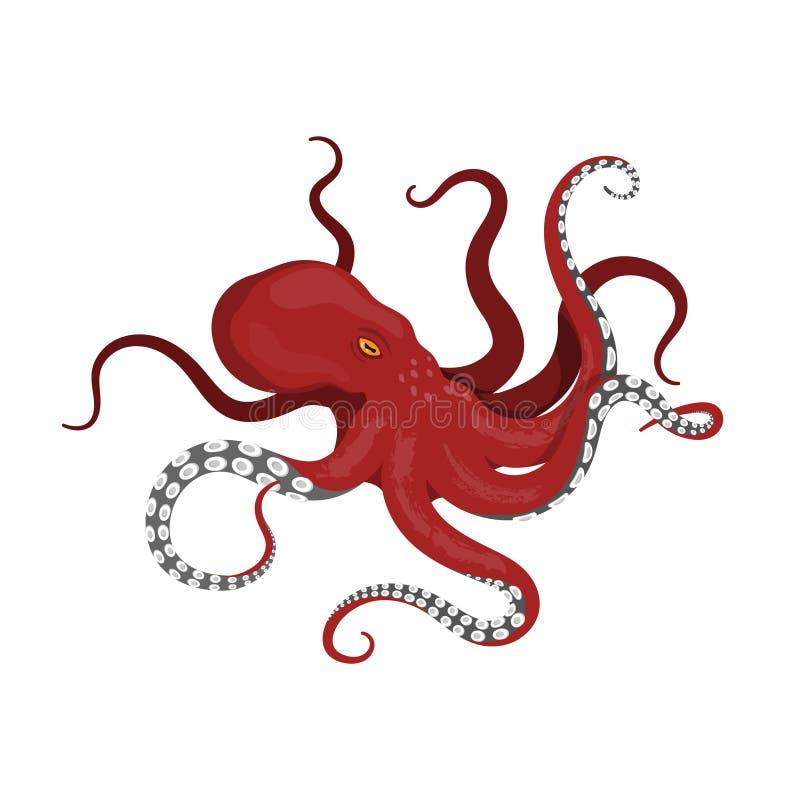 Polvo vermelho gigante em um fundo branco O monstro de mar kraken no estilo dos desenhos animados ilustração do vetor