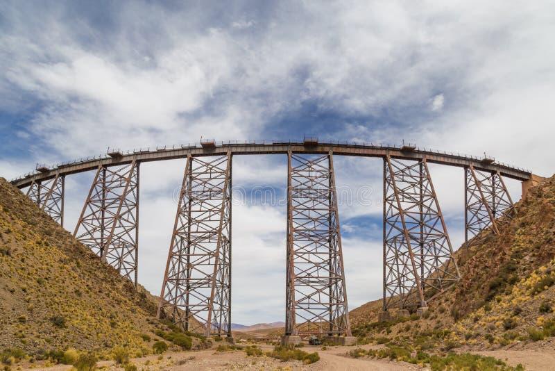 Polvorilla viadukt i Argentina arkivfoto
