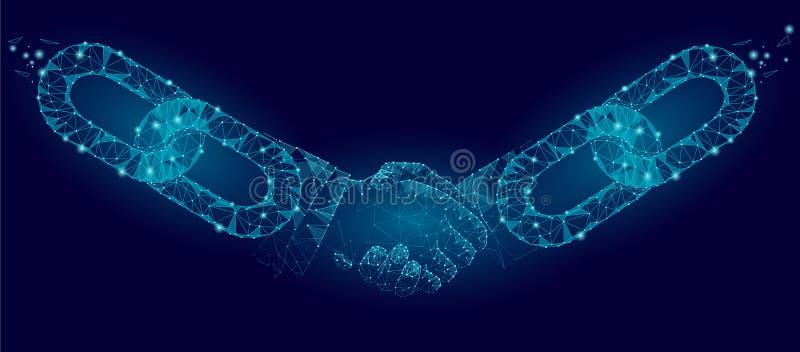 Poly affärsidé för handskakning för Blockchain teknologiöverenskommelse lågt Polygonal punktlinje geometrisk design Handkedja vektor illustrationer