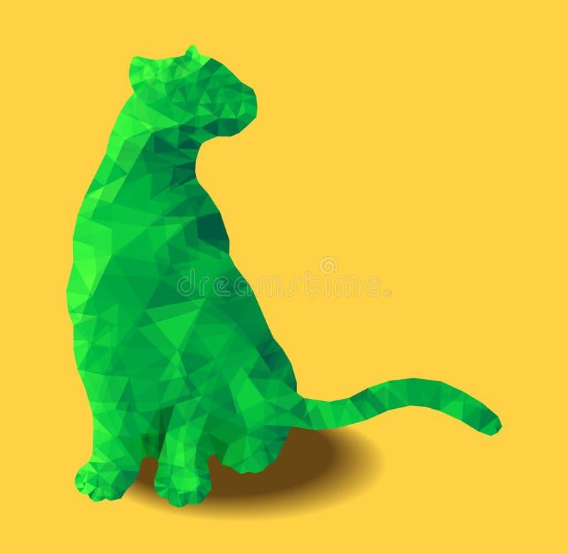 Poly chat animal reposant l'illustration abstraite polygonale verte colorée de vecteur illustration stock