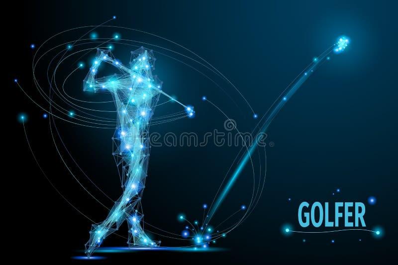 Poly golfspelare stock illustrationer
