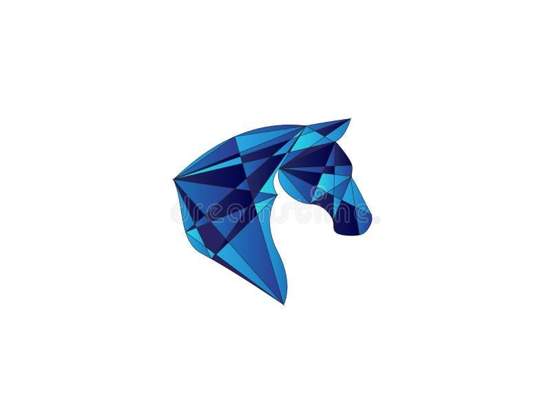 Poly huvudhäst för logodesignillustration royaltyfri illustrationer