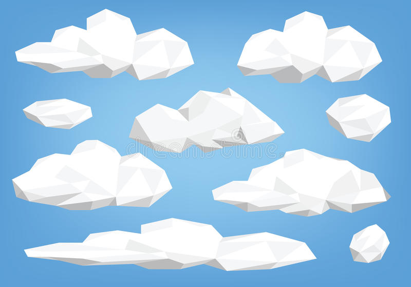 Poly molnillustrationuppsättning lågt vektor illustrationer