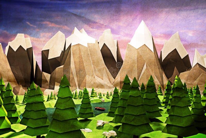 Poly natur lågt vektor illustrationer