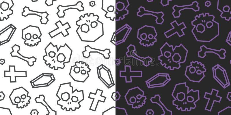 Poly sömlös modell för skallar och för ben lågt Svartvit bakgrund, 2 versioner vektor illustrationer