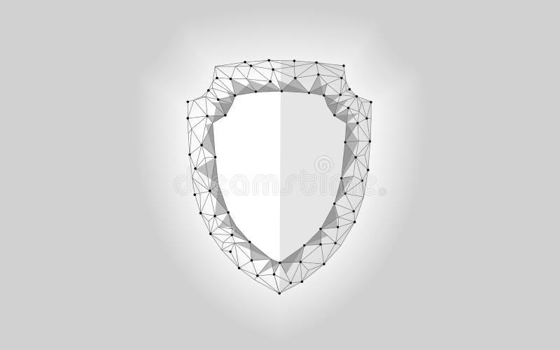 Poly sköld för Cybersäkerhetssäkerhet lågt Polygonal geometrisk glödande vakträddning från internetattackantivirus Grå vit royaltyfri illustrationer