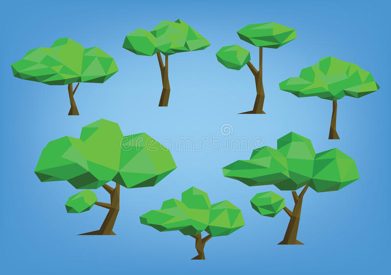 Poly stil för trädillustrationuppsättning lågt stock illustrationer