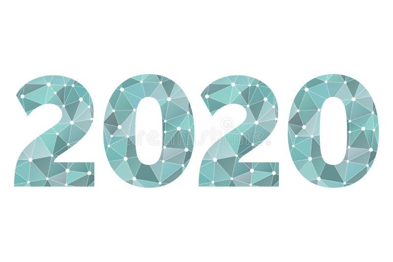 poly symbole du vecteur 2020 Illustration de triangle d'abrégé sur bonne année avec des cercles pour la décoration, célébration,  illustration stock