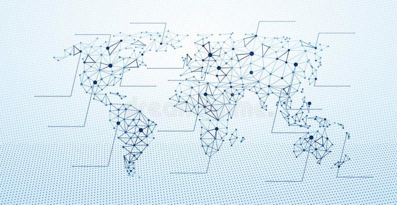 poly världskarta lågt stock illustrationer