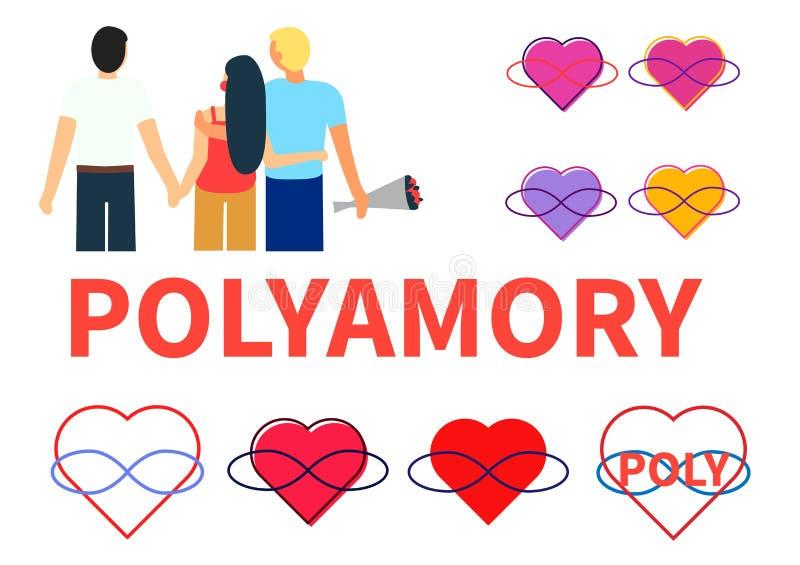 Polyamory Seth Twee kerels en de handen en de omhelzing van een meisjesgreep Verscheidene symbolen van polyamoria - de harten en  royalty-vrije illustratie