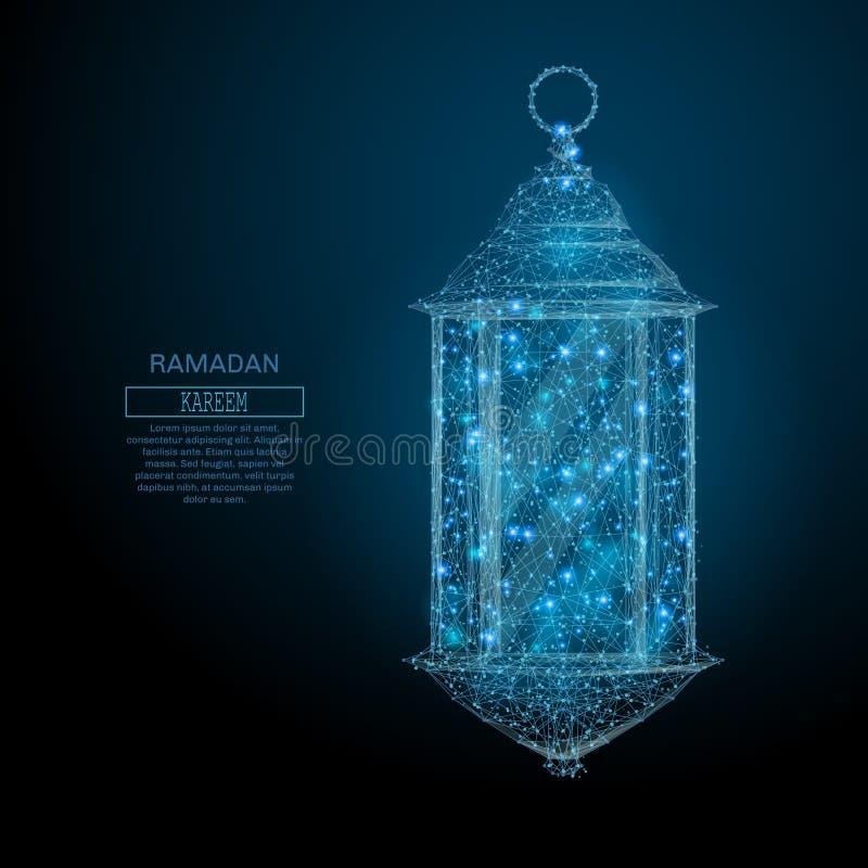 Polyblau Ramadan-Laterne niedrig lizenzfreie abbildung