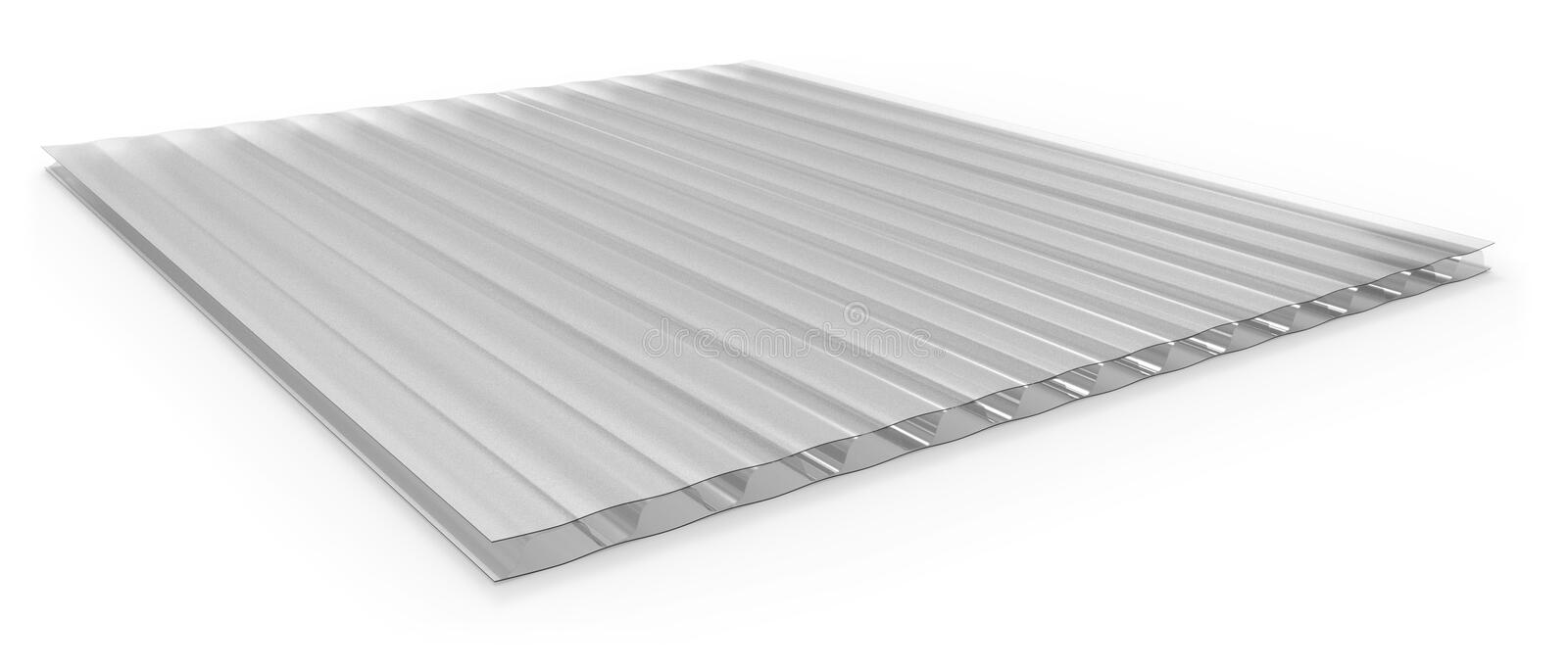 Polycarbonate corrugated sandwich panel. Isolated on white vector illustration