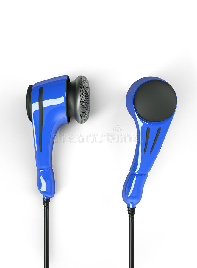 Polycarbonate headphones, blue colored stock photography