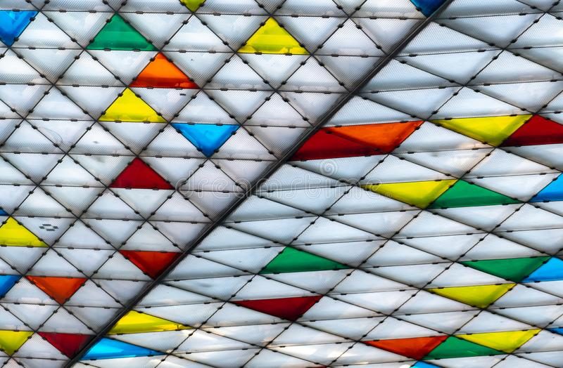 Polycarbonate roof. Awning of building. Colorful plastic roof with modern pattern. Triangle polycarbonate sheet decorate canopy. royalty free stock photography