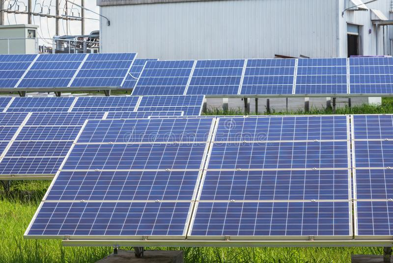 Polycrystalline silicon solar cells or photovoltaic cells in solar power plant royalty free stock image