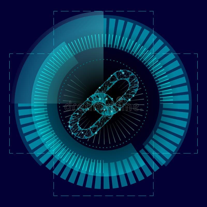 Polydesign des Blockchain-Link-Zeichens niedrig HUD-Schnittstellengeschäft Hyperlink des Internet-Technologiekettenikonendreiecks vektor abbildung
