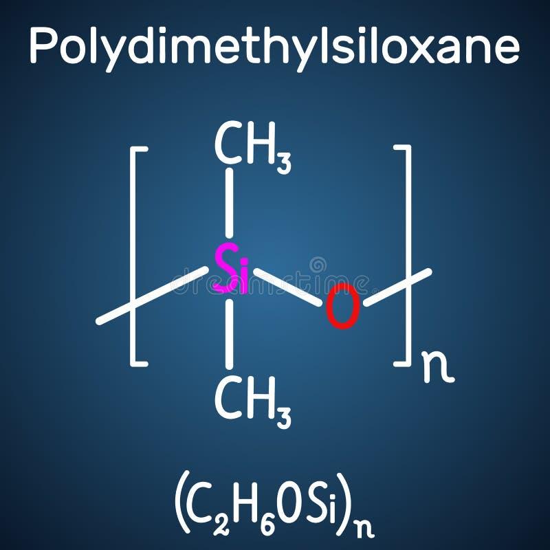 Polydimethylsiloxane,PDMS,硅树脂聚合物,分子 在深蓝背景的结构化学式和分子模型 库存例证