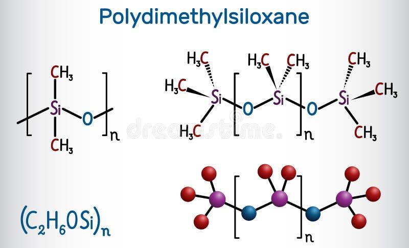 Polydimethylsiloxane,PDMS,硅树脂聚合物,分子 结构化学式和分子模型 库存例证