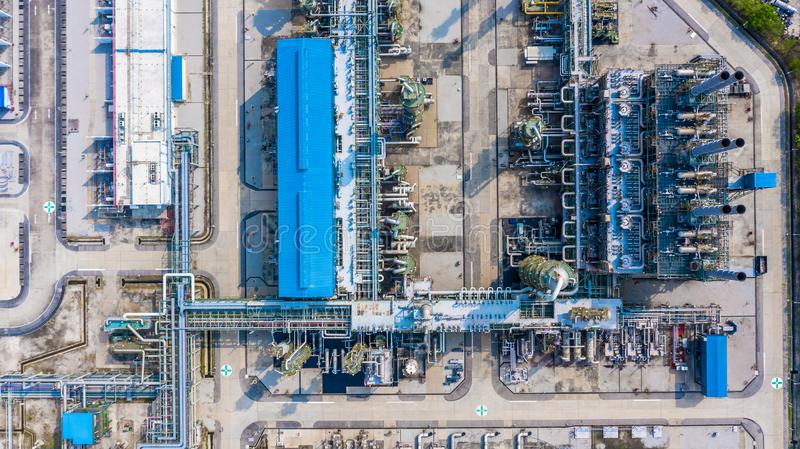 Polyethylene plant in the industrial park, Aerial view polyethylene industry.  stock photography