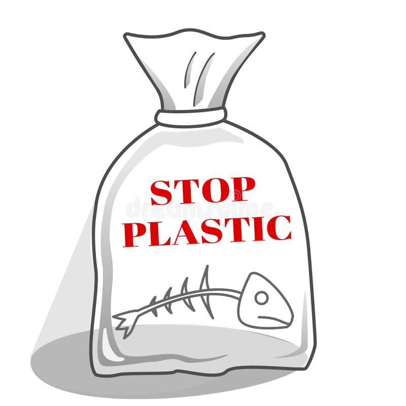 Polyetylenpacke med den döda fisken i mitt arkivbild