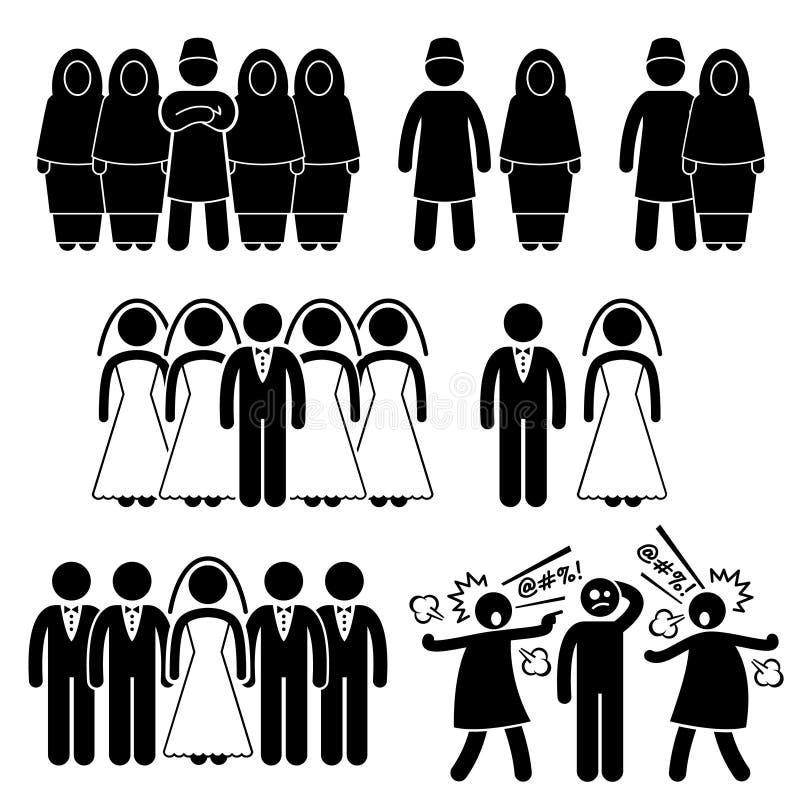 Polygamie-Heirat-mehrfacher Frau-Ehemann Cliparts vektor abbildung