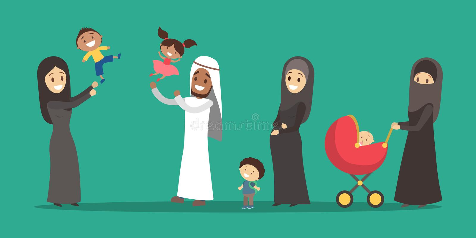 Polygamy arabic family. Girl in hijab. Man with many wifes stock illustration