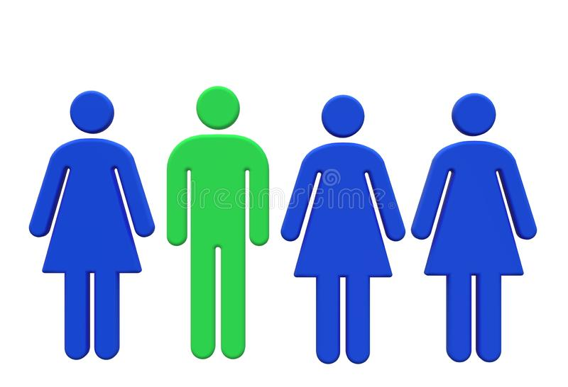 Polygamy of a single green man with multiple partners stock illustration
