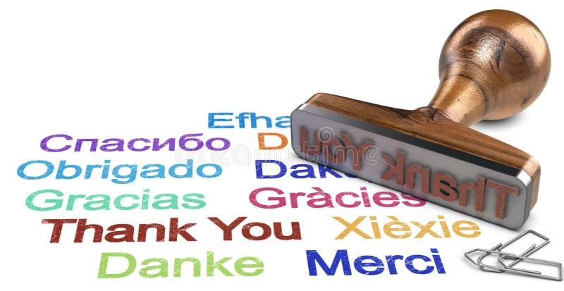 Polyglotism, danke in einigen Sprachen stock abbildung