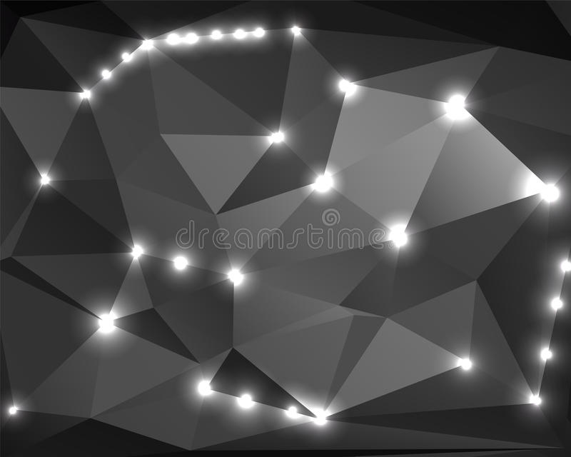 Abstract monochrome background polygon 2 stock illustration